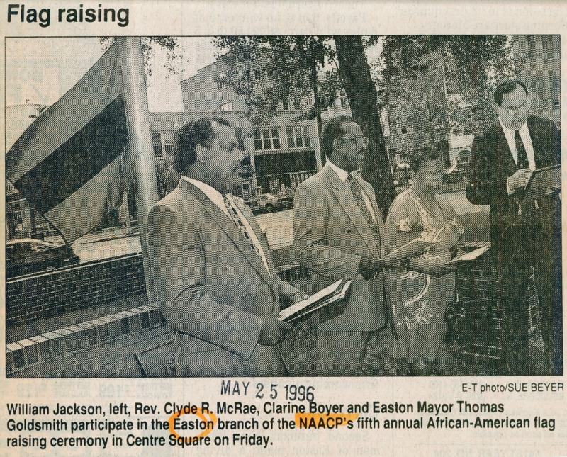 Newspaper article about the fifth annual African-American flag raising ceremony organized by the Easton Branch of the NAACP