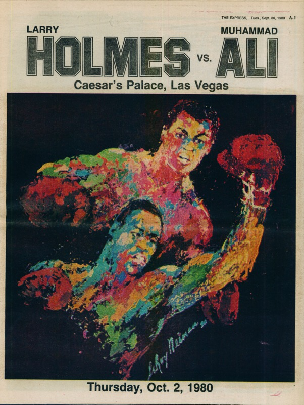 Poster featuring two boxers wearing boxing gloves.