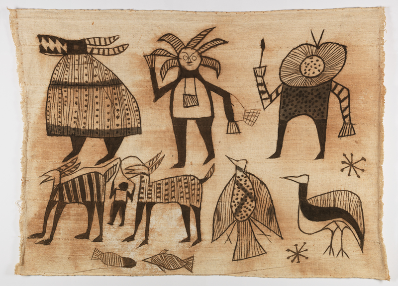 A collection of abstract figures. In clockwise order beginning in the upper left, the tapestry features a rotund robed figure with a mask that has the jaws of a crocodile and two long horns; a masked figure with six horns or hair spikes and a pouch around their neck; another figure with a mask that consists of two concentric circles, the inner of which is filled with dots, and the outer of which has radiating lines; a standing bird that has a white breast and black wings; a flying bird that has striped wings, and a polka-dotted breast; two four-legged creatures that seem to be held on leashes by a small human; two small fish.