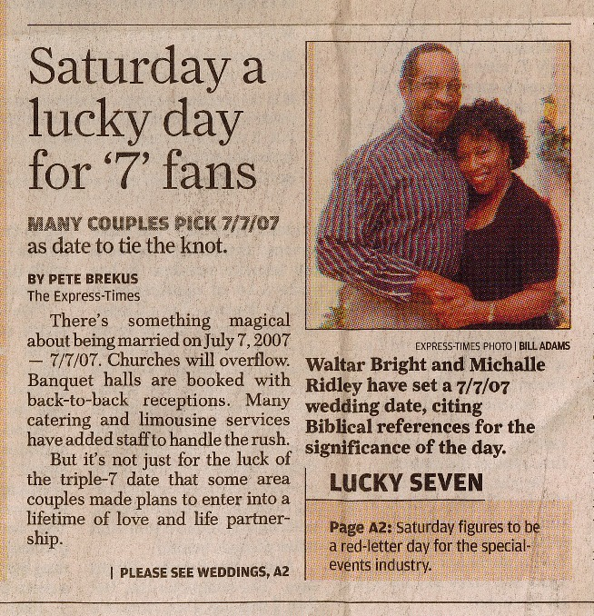 Newspaper clipping featuring image of an engaged man and woman embracing