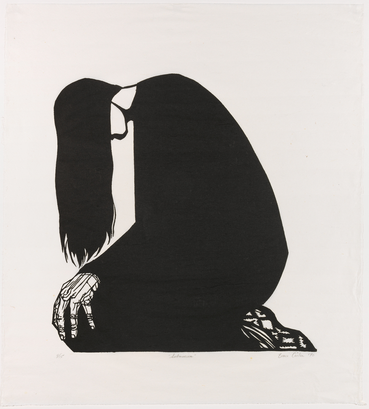 A figure sitting on their knees, head bent over and long hair covering the face. Their hair hangs to their hands which are placed on their knees.