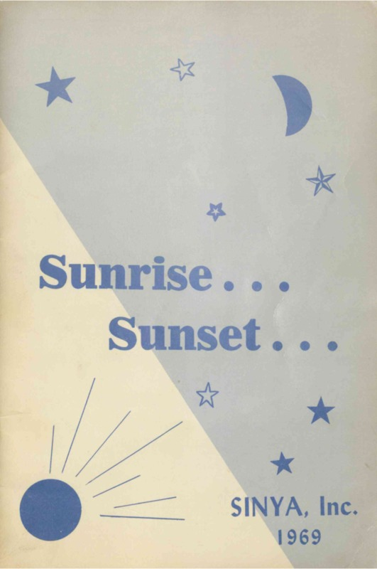Program brochure illustrating sun, moon, and stars.