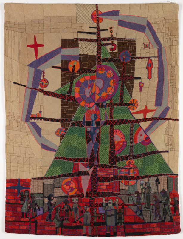 Many steel workers in protective gear standing at the bottom of this abstracted textile piece. They look at the center of the artwork, which features a female figure made of steel, who is surrounded by metal rods and dots of light radiating out from the middle of the piece.