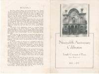 A program for the anniversary celebration.