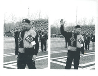 An elderly man wearing a sweater standing on a football field. In the left panel, he is walking onto the field. In the right panel, he is waving to the crowd.