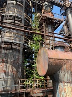 Greenery overtaking an industrial plant. Everything from the catwalks to the support towers are rusted.