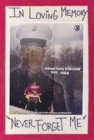 Hand-written memorial poster featuring an image of a marine superimposed on an image of the Vietnam War Memorial