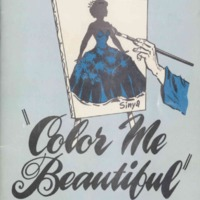 Program brochure illustrating canvas on which a woman in a blue dress is painted.