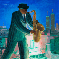 A man in a green striped suit and hat playing the saxophone on a rooftop in a city.