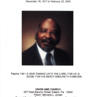 Funeral brochure featuring a headshot of a man in a formal attire.
