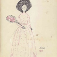 Program brochure illustrating woman in the dress and with bouquet of flowers.