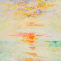 A sunrise over a body of water depicted in soft aqua blues and cream. It rises over a cloudy sky filled with orange, pink, purple, yellow and other pastel colors.