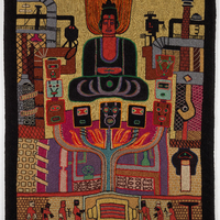 A textile consisting of industrial workers at the bottom, abstract industrial buildings in U-shape up left and right sides, and a large manifestation of Buddha flanked by a U-shaped series of abstract masks.