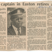 A newspaper clipping of an article announcing police captain Henley's retirement.