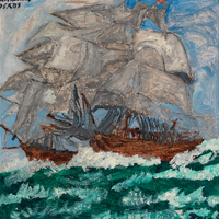 Two large wooden ships with billowing white sails on a tumultuous emerald green ocean.