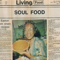 Newspaper clipping featuring woman that shows cooked pie.
