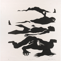 Abstract figures lying motionless on the ground. A single white bird sits on the back of the closest figure who lays face down with their long hair strewn across the ground.