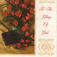 Program brochure with illustration of a Bible and a vase with roses.