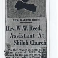 A newspaper clipping of an article about a reverend at Shiloh Church.