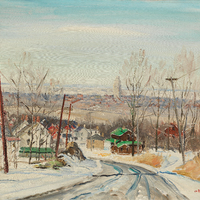A rural scene of wintry road bordered by telephone poles and two brick houses. There are mountains and a city area in the distance.