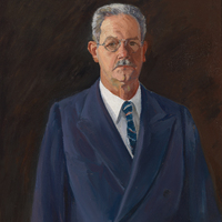 A painted portrait of an elderly mustachioed man wearing a blue suit with a striped tie and glasses.